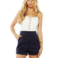 Papaya Clothing Online :: FRONT BUTTON BACK BOW LACY ROMPER