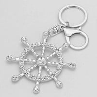 Nautical Silver Rhinestone Cute Keychain