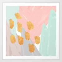 Soft Angles 2 - coral and mint abstract Art Print by Allyson Johnson | Society6