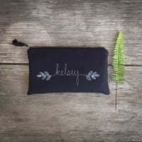 Black Wedding Clutch, Personalized Bridesmaid Gift, Modern Wedding Purse, Wedding Accessory MADE TO ORDER by MamaBleuDesigns