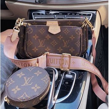 High-end version Gift box with packaging LV Louis Vuitton women's three-piece shoulder bag messenger bag mahjong bag cosmetic bag key case