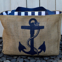 Free Shipping: Eco-Friendly Nautical Anchor Market Tote Bag, Handmade from a Recycled Coffee Sack Gift