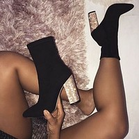 The New elastic fabric Thick heel High heel Women's boots Sequins heel black shoes