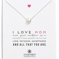 Dogeared 'I Love Mom' Pearl Pendant Necklace | Nordstrom
