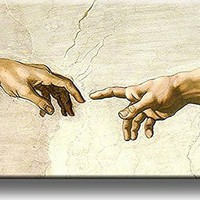Creation of Adam by Michelangelo (Hands Only) Picture on Stretched Canvas, Wall Art Decor, Ready to Hang!