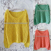 New Womens Casual Loose Hollow V neck Knit Sweater Coats Cardigan Tops Oub