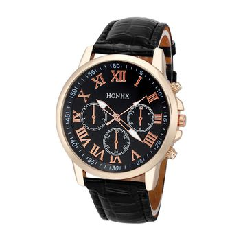 Womens Roman Numerals Faux Leather Analog Quartz Watch