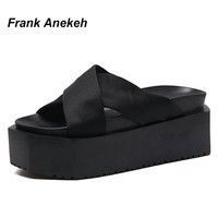 Frank Anekeh Women New Summer Fashion comfortable Shoes Sandals Slipper Female Beach Flip Flops Slippers Platform Sandal Size 9