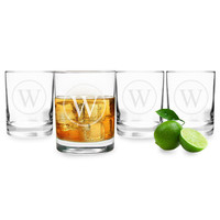 Circle Initial Drinking Glasses(Set of 4)