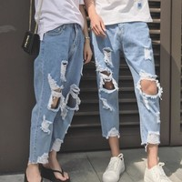 New Jeans Men Hole Slim Fit Denim Straight Jean Couple Casual Stretch Destroyed Ripped Jeans Men Skinny Jeans 1804071