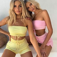 Casual fashion strapless strapless tube top shorts suit two piece set