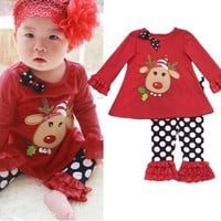 2Pcs Red Baby Toddler Girl Kid Christmas Deer Top T-shirt+Pants Outfits Xmas Set = 1946237956