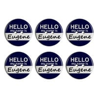 Eugene Hello My Name Is Plastic Resin Button Set of 6