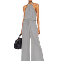 Lexi Silk Jumpsuit in Midnight and Swam