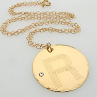 Personalized Gold Necklace / Monogram Initial Pendant / Gift for Her