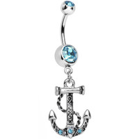 Aqua Cubic Zirconia Celtic Anchor Dangle Belly Ring | Body Candy Body Jewelry
