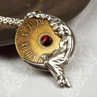 Moon Goddess Steampunk Birthstone Necklace with Swarovski Elements