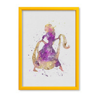 Rapunzel 2 FRAMED Watercolor print Tangled Art Print poster Princess Disney Watercolor Kids art Wall art