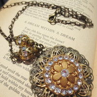 Necklace Rhinestone Filigree Flower Vintage Reclaimed