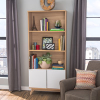 Eco-Friendly 3-Shelf Bookcase with Bottom Cabinet in White & Natural