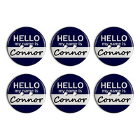 Connor Hello My Name Is Plastic Resin Button Set of 6