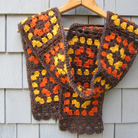 Thanksgiving Crochet Fall Granny Square Scarf, Women's Crochet Autumn Scarf, Brown Wool Scarf by CROriginals