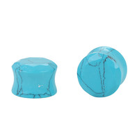 Stone Turquoise Faceted Plug 2 Pack