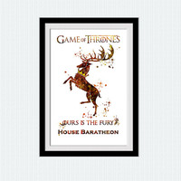 Game of Thrones art print House Baratheon watercolor poster Game of Thrones decor Home decoration Kids room wall art Nursery room decor W618