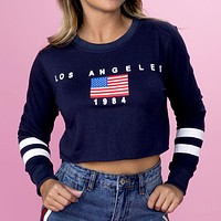 Los Angeles Varsity Crop Crewneck