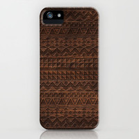Aztec Tribal Andes Carved brown wood grain pattern iPhone & iPod Case by Girly Trend