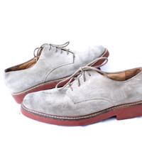 Ivy League Lace Ups - Vintage Brooks Brothers - Suede Bucks - With Red Rubber Sole Mens size 9.5