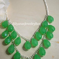 Green Necklace - Statement Necklace - Light Green Necklace - Two Tier Necklace - Teardrop Necklace - Green Statement Necklace
