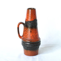 WEST GERMAN POTTERY Vase, Scheurich 400-22, Retro Modern, Fat Lava, Orange Stripes, Black, Made in Germany, German Midcentury
