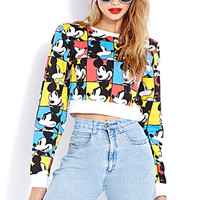 Mickey Faces Cropped Sweatshirt