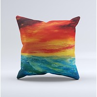 Abstract Sunset Painting Ink-Fuzed Decorative Throw Pillow