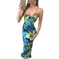 2017 Trending Fashion Floral Printed Hollow Bandage Sexy Floral Printed Backless Package Hip Criss Cross Back Spagehetti Strap Sleeveless Erotic One Piece Dress _ 12397