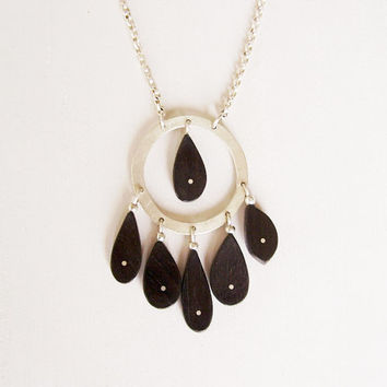 Ebony and Sterling Silver Round Pendant with Sterling Silver chain - Black and Silver Necklace - Drops Circle Pendant