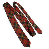 "FORSYTHE Maple Leaf Tartan Tie,Canadian 1964 Vintage Red and Green Skinny Plaid Tie,5.5cm/2.2"" Narrow Width Preppy Hipster Necktie"