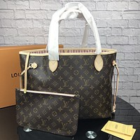 LV Tide brand classic old flower female models high quality handbag Messenger bag two-piece Coffee print