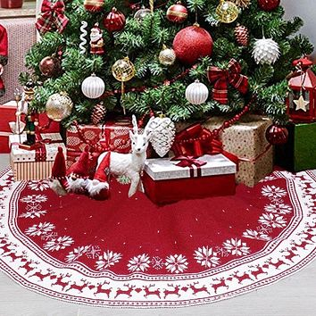 Christmas tree bottom decoration 90cm 122cm snowflake deer pattern red knitted Christmas tree skirt