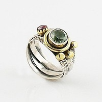 Praisiolite & Garnet Two Tone Artisan Crafted Ring
