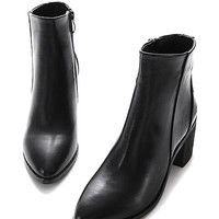 Black PU Pointed Chunky Heel Ankle Boots