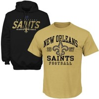 New Orleans Saints T-Shirt and Hoodie Set - Black/Gold