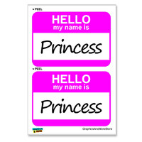 Princess Hello My Name Is - Sheet of 2 Stickers