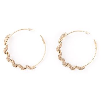 Roberto Cavalli pavé snake hoop earrings