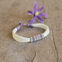 White linen bracelet, lavender beaded bracelet, organic jewelry, natural gift for mother, 2014 summer fashion jewelry trends