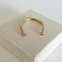 Gold Horseshoe Ring - Gold Diamond Ring - Lucky Ring - 14k Solid Gold