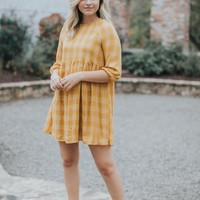 Celeste Plaid BabyDoll Dress, Mustard