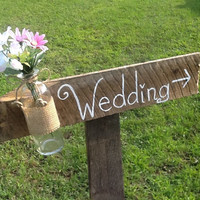 Rustic wedding sign mason jar wedding sign wooden by PineNsign