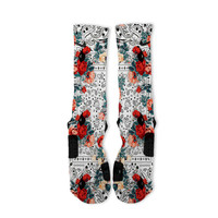 White Floral Bandana Custom Nike Elite Socks